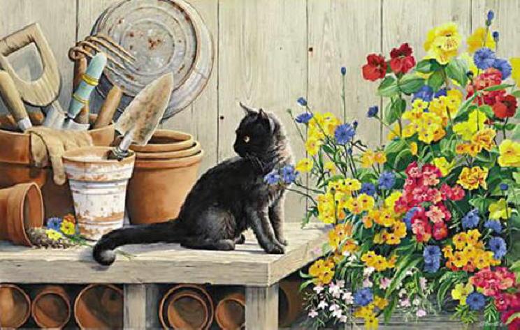 black cat paintings gardeners helper susan bourdet