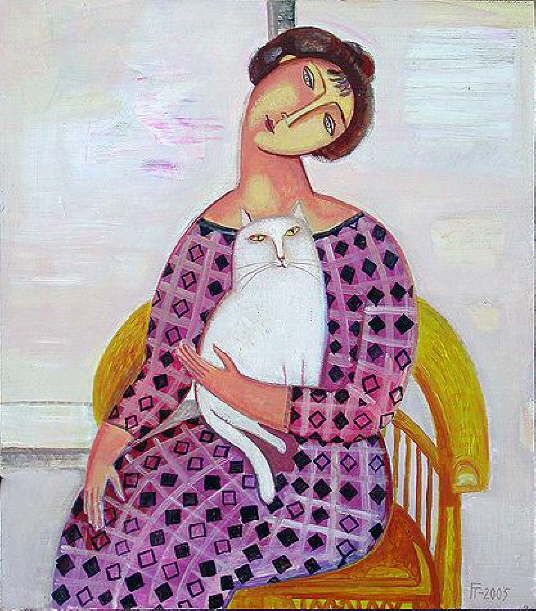 Cat And People Paintings Woman In The Armchair Tatyana