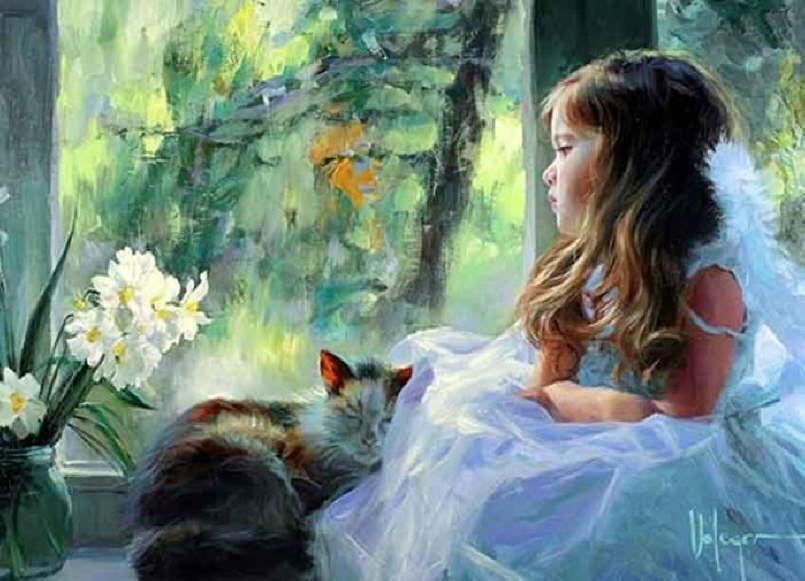 Красивые девушки на картинах