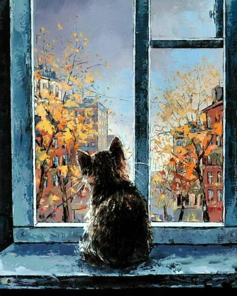 Alexander Gunin - Cat in the Window