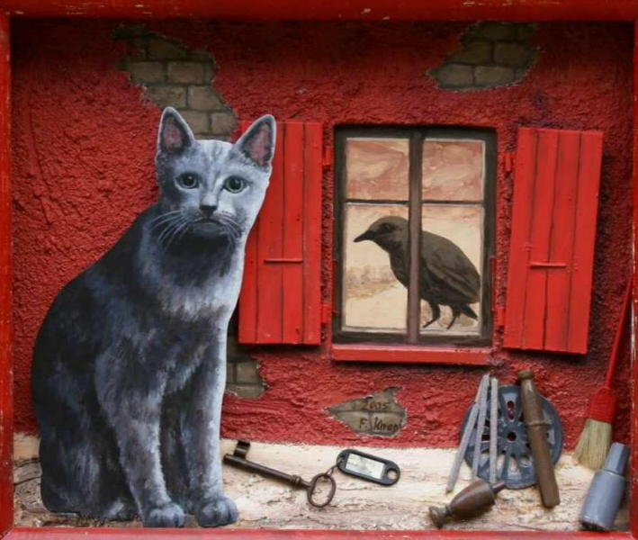 Cat In The Window Painting Francois Knopf Imprisoned Bird