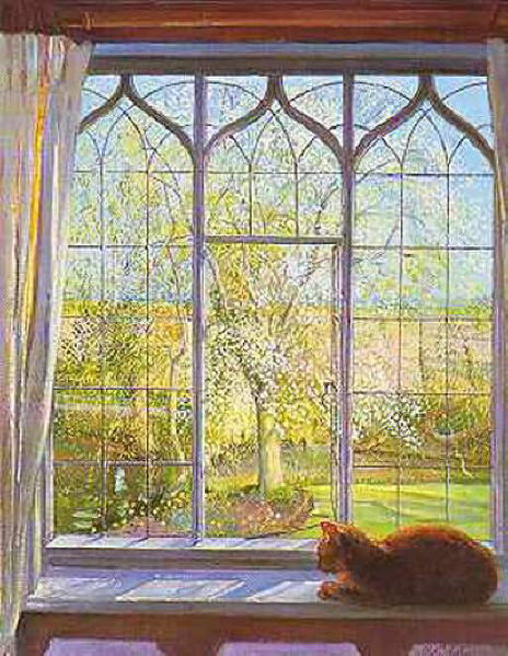Cat in the window painting timothy easton spring window