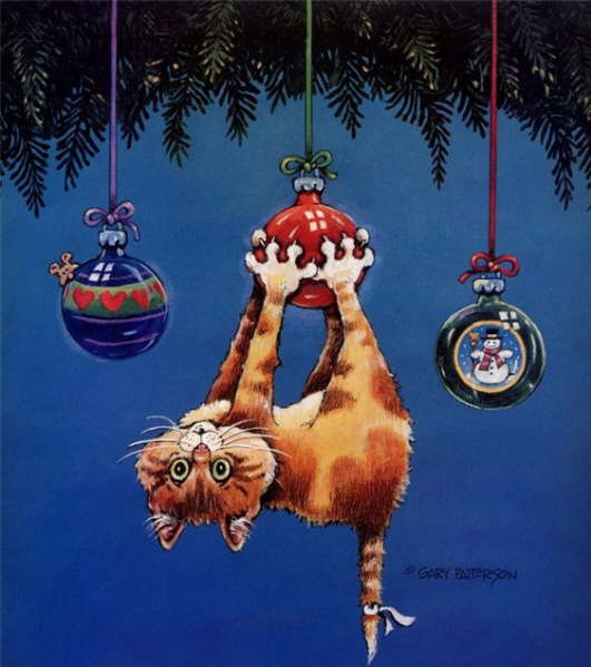 Christmas Cats And New Year S Cats Painting Gary Patterson