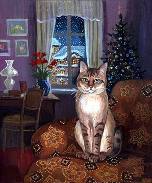 New Year's cat painting
