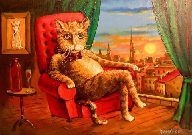 orange cat paintings rahmet redzepov nice day