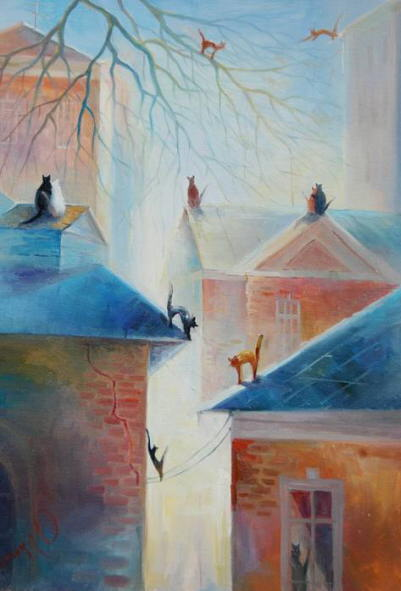 Painting of romantic cats. Oksana Sulimova