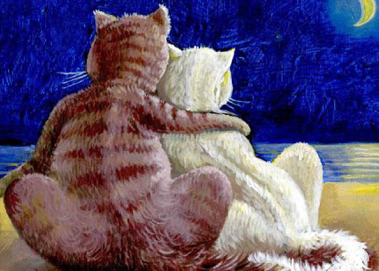 Painting of romantic cats. Rahmet Redzepov