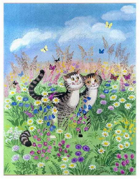 Painting of romantic cats. Tatyana Rodionova