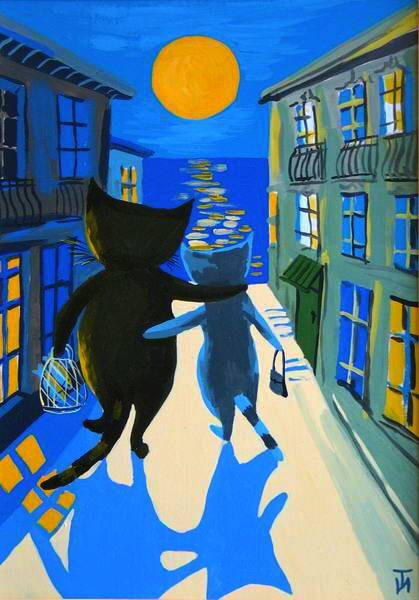 Painting of romantic cats. Ivetta Timoshkina