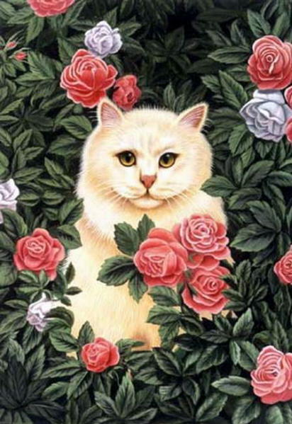 Summer cat paintings brownd elizabeth persian cat pink flowers mightylinksfo