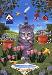 Brownd Elizabeth - Backyard Cat with Tulips