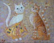 Elena Melnikova - White Cat, Orange Cat