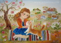Elena Revuckaya - Girl and her loved cat
