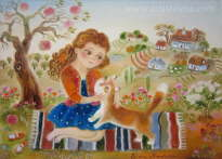 Girl and Her Loved Cat - Elena Revuckaya