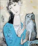 Tatyana Gorshunova - Girl and a Gray Cat