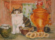 Vasileva Natalya - Cat near samovar