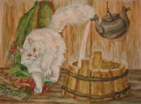 Cat near the wash-basin - Natalya Vasileva